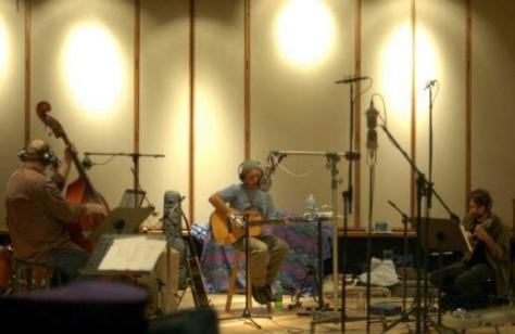 "Eric Thorin, David Elias, Matt Flinner recording ""Freedom on the Freeway"""